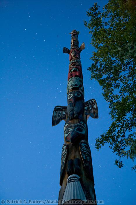 Stars and totem at Totem Bight State Historical Park, near Ketchikan, Alaska.