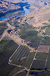 Aerial view of apple, pear, and cherry orchards in Bray's Landing area near Orondo, Washington in Douglas County.  Irrigated land.