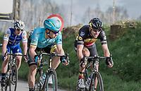podium fighters Philippe Gilbert (BEL/Quick Step floors), Alexey Lutsenko (KAZ/Astana) &amp; Yves Lampaert (BEL/QuickStep Floors) fighting it out in the race finale<br /> <br /> 72nd Dwars Door Vlaanderen (1.UWT)<br /> 1day race: Roeselare &rsaquo; Waregem BEL (203.4km)