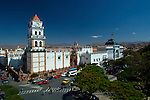 The Metropolitan Cathedral of Sucre, and the Chuquisaca Governorship or Palace of Government, both front Plaza 25 de Mayo, the heart of Sucre, Bolivia.  Sucre is referred to as the 'White City of the Americas, or 'La Ciudad Blanco' because of all its white colonial buildings.  The city is itself was declared a UNESCO World Heritage Site.