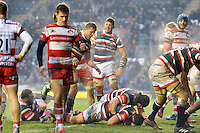 Leicester Tigers players celebrate as Maxime Mermoz crosses the try-line. Aviva Premiership match, between Leicester Tigers and Gloucester Rugby on February 11, 2017 at Welford Road in Leicester, England. Photo by: Patrick Khachfe / JMP