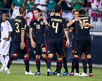 Mexico vs Cuba in the first round of the Concacaf Gold Cup at Bank of America Stadium in Charlotte North Carolina, Mexico won 5-0, Mexican players congratulate each other after scoring a goal