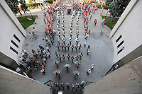 The Ohio State Marching Band members march to St. John for the skull session prior to the game between Ohio State and Wisconsin at Ohio Stadium on Saturday, September 28, 2013. (Columbus Dispatch photo by Jonathan Quilter)