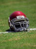 17 May 2005: Helmet sitting on the grass chalk marker, Football, grass, field, marker, goal line, chalk, stock, closeup, texture, Sports Ball graphic detail, illustration, product, art, clean. Ready for all uses.  Mandatory Credit:  Shelly Castellano