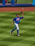 21 April 2013: New York Mets outfielder Jordany Valdespin pulls in a fly ball against the Washington Nationals at Citi Field in Flushing, NY. The Mets shut out the visiting Nationals 2-0, taking the rubber match of their 3-game weekend series. Mandatory Credit: Ed Wolfstein Photo *** RAW (NEF) Image File Available ***