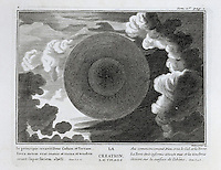 The Creation of heaven and earth, from an illustrated bible, 1763, in the Joanina Library, or Biblioteca Joanina, a Baroque library built 1717-28 by Gaspar Ferreira, part of the University of Coimbra General Library, in Coimbra, Portugal. The engravings are after drawings by Raphael and other masters, with words by Claude Hernissant and printed by Guillaume Deprez. The Casa da Livraria was built during the reign of King John V or Joao V, and consists of the Green Room, Red Room and Black Room, with 250,000 books dating from the 16th - 18th centuries. The library is part of the Faculty of Law and the University is housed in the buildings of the Royal Palace of Coimbra. The building is classified as a national monument and UNESCO World Heritage Site. Picture by Manuel Cohen