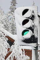 """Snowy Traffic Signal, GO"" - This snow covered green light traffic signal was photographed during a storm in Truckee, CA."
