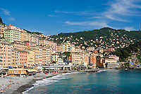 Waterfront buildings and beach, Camogli, Liguria, Italy