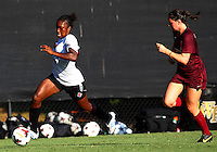 WINSTON-SALEM, NORTH CAROLINA - August 30, 2013:<br />  Christine Exeter (22) of Louisville University breaks away from Jordan Coburn (19) of Virginia Tech during a match at the Wake Forest Invitational tournament at Wake Forest University on August 30. The game ended in a 1-1 tie.