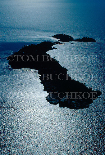 Aerial photo of the Huron Islands in Lake Superior.