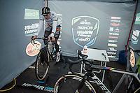Wout Van Aert (BEL/Crelan-Willems) warming up on the rollers pre-race<br /> <br /> Elite Men's race<br /> CX Superprestige Noordzeecross <br /> Middelkerke / Belgium 2017