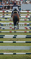 Jumping of a tricky combination during the SEB Grand Prix of Falsterbo Horse Show.<br /> Horse Trials have since the 1920s proud traditions on the Falsterbo Peninsula in southwestern Sweden, nowadays run as the international meeting Falsterbo Horse Show.<br /> In 2007 685 horses from 15 countries competed during the seven days of the meeting.<br /> July 2005.<br /> Only for editorial use.