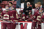 Julius Mattila (BC - 26), Mike Ayers (BC - Assistant Coach), JD Dudek (BC - 15), Mike Booth (BC - 12), Jerry York (BC - Head Coach), Brian Hurley (BC - Student Manager), Greg Brown (BC - Associate Head Coach), Luke McInnis (BC - 3) - The Harvard University Crimson defeated the visiting Boston College Eagles 5-2 on Friday, November 18, 2016, at the Bright-Landry Hockey Center in Boston, Massachusetts.