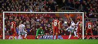 LIVERPOOL, ENGLAND - Thursday, October 4, 2012: Udinese Calcio's Maurizio Domizzi scores the second goal against Liverpool during the UEFA Europa League Group A match at Anfield. (Pic by David Rawcliffe/Propaganda)