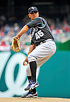 10 July 2011: Colorado Rockies pitcher Jhoulys Chacin on the mound against the Washington Nationals at Nationals Park in Washington, District of Columbia. The Nationals shut out the visiting Rockies 2-0 salvaging the last game their 3-game series at home prior to the All-Star break. Mandatory Credit: Ed Wolfstein Photo