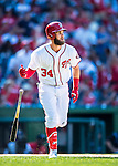 28 August 2016: Washington Nationals outfielder Bryce Harper in action against the Colorado Rockies at Nationals Park in Washington, DC. The Rockies defeated the Nationals 5-3 to take the rubber match of their 3-game series. Mandatory Credit: Ed Wolfstein Photo *** RAW (NEF) Image File Available ***