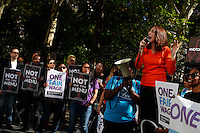 Activists attend a rally for the National Day of Action for ONE FAIR WAGE and an end to gender discrimination and sexual harassment in the restaurant industry. In New York City. Photo by Gary Hershorn/VIEWpress