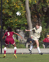 Boston College defender Alyssa Pember (6) heads the ball. Florida State University defeated Boston College, 1-0, at Newton Soccer Field, Newton, MA on October 31, 2010.