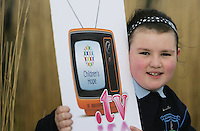 ***NO FEE PIC***.15/11/2010.Roisin Kearns-Owens (8) from Sallynogin.at the launch of Children's Hope.TV at The Media Cube, IADT,Dun Laoghaire, Co. Dublin..The Irish children's Charity Children's Hope has developed an online educational resource for young people & youth workers, a website caleed www.childrens-hope.tv..The websitte features short curriculm-adhering educational programmes available to be played by young people in after-school projects geared to Youth & Comunity Leaders..Photo: Gareth Chaney Collins