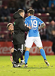 Hearts v St Johnstone&hellip;05.11.16  Tynecastle   SPFL<br />Fourth official Nick Walsh separates Richie Foster and Robbie Muirhead<br />Picture by Graeme Hart.<br />Copyright Perthshire Picture Agency<br />Tel: 01738 623350  Mobile: 07990 594431