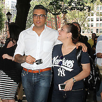 NEW YORK, NY - JUNE 22:    Jaime Camil and a fan at the Breyers Ice Cream 150th Birthday Blowout celebration in Madison Square Park in New York, New York on June 22, 2016.  Photo Credit: Rainmaker Photo/MediaPunch