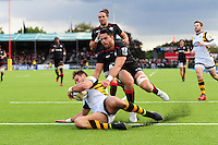 Josh Bassett of Wasps dives for the try-line. Aviva Premiership match, between Saracens and Wasps on October 9, 2016 at Allianz Park in London, England. Photo by: Patrick Khachfe / JMP