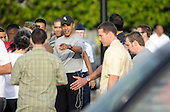 Honolulu, HI - December 22, 2008 -- United States President-elect Barack Obama greets well wishers after his morning gym workout at Marine Corps Base Hawaii Kaneohe Bay  on Monday, December 22, 2008..Credit: Joaquin Siopack - Pool via CNP