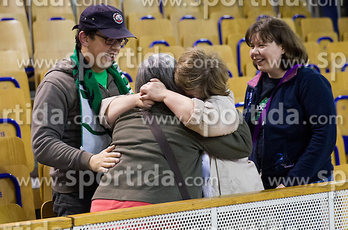 Fans of Olimpija celebrate after the basketball match between KK Union Olimpija and KK Krka in 10th Round of Telemach League 2012/2013, on April 30, 2013, in Hala Tivoli, Ljubljana, Slovenia. (Photo By Vid Ponikvar / Sportida.com)