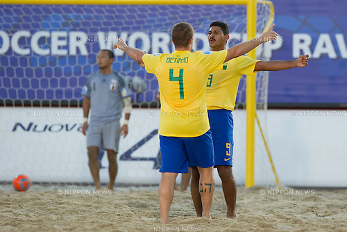 (L-R) Betinho, Andre (BRA), SEPTEMBER 06, 2011 - Beach Soccer : Andre of Brazil celebrates his goal with his teammate during the FIFA Beach Soccer World Cup Ravenna-Italy 2011 Group D match between Brazil 3-2 Japan at Stadio del Mare, Marina di Ravenna, Italy, (Photo by Enrico Calderoni/AFLO SPORT) [0391]