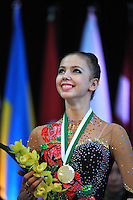 Daria Dmitrieva of Russia celebrates Event Final medal at 2010 World Cup at Portimao, Portugal on March 14, 2010.  (Photo by Tom Theobald).