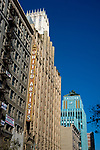 Buildings on Broadway in Downtown Los Angeles including The Ace Hotel formerly United Artsits and the blue Art Deco Eastern Building.
