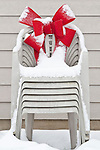 Christmas Red Bow on Lawn Chairs