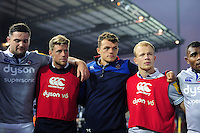 Elliott Stooke, Rhys Priestland, Zach Mercer, Will Homer and Semesa Rokoduguni of Bath Rugby look on in a post-match huddle. Aviva Premiership match, between Exeter Chiefs and Bath Rugby on October 30, 2016 at Sandy Park in Exeter, England. Photo by: Patrick Khachfe / Onside Images