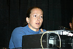 """17 January 2004: Boston Breakers goalkeeper and WUSA founding player Tracy Ducar during a panel discussion titled """"Can Women's Professional Soccer Survive in America"""" at the Charlotte Convention Center in Charlotte, NC as part of the annual National Soccer Coaches Association of America convention.."""