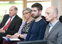 ***NO FEE PIC ***<br /> 11/06/2014<br /> (L to R)     Edward Gleeson from mason Hayes &amp; Curran <br /> Ger Tuohy Focus Ireland <br /> Cormac McDonnell Crosscare<br /> Stewart Reddin<br /> during The Mercy Law Resource Centre's Annual Report for 2013 at Sophia Housing on Cork Street, Dublin.<br /> Photo:  Gareth Chaney Collins