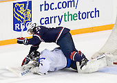 Joni Ortio (Finland - 1), Kyle Palmieri (USA - 23) - Team USA defeated Team Finland 6-2 on Saturday, January 2, 2010, at Credit Union Centre in Saskatoon, Saskatchewan during the 2010 World Juniors quarterfinals.