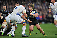 Nick Auterac of Bath Rugby in possession. European Rugby Champions Cup match, between Bath Rugby and Leinster Rugby on November 21, 2015 at the Recreation Ground in Bath, England. Photo by: Patrick Khachfe / Onside Images
