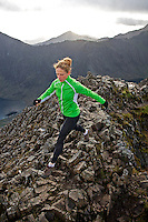 Sarah Ridgeway during practice for her record breaking run on the Snowdon Horseshoe. It takes usually about 8hrs to complete this walk, Sarah's record time is 1h 43min. Snowdonia National Park, North Wales.