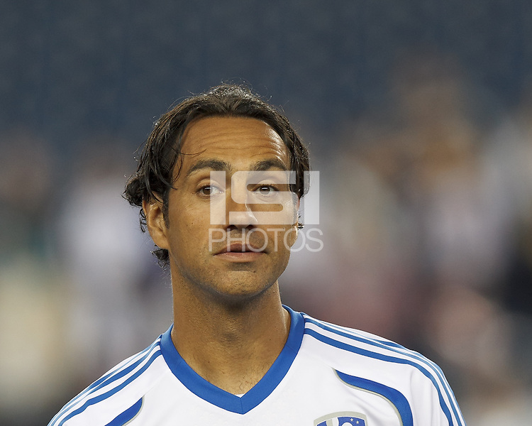 Montreal Impact defender Alessandro Nesta (14). In a Major League Soccer (MLS) match, Montreal Impact (white/blue) defeated the New England Revolution (dark blue), 4-2, at Gillette Stadium on September 8, 2013.
