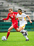 14 October 2010: University of Hartford Hawks defender Nicole Weil, a Junior from Garden Grove, CA, races to maintain possession against  University of Vermont Catamount forward Nicoleta Hardesty, a Sophomore from Dobbs Ferry, NY, at Centennial Field in Burlington, Vermont. The Hawks defeated the Lady Cats 6-2 in America East play. Mandatory Credit: Ed Wolfstein Photo
