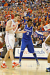 UK freshman forward Nerlens Noel reacts to a foul called on him during the first half of the University of Kentucky vs. University of Florida men's basketball game at the O'Connell Center in Gainesville, Fl., on Tuesday, February 12, 2013. UK lost 69-52. Photo by Tessa Lighty | Staff