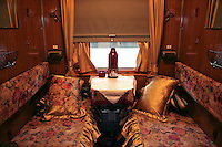 First Class Compartiment on the Trans-Siberian Railway. Plush chintz and fluffy pillows make your home during the 7 day journey from Beijing to Moscow.