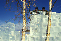Ice sculptor from Fort Wainwright Army base, World Ice Sculpting Championships, Fairbanks, Alaska