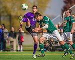 19 October 2013: University at Albany Great Dane Defenseman Bernardo Mattos, a Freshman from Sao Paula, Brazil, in action against the University of Vermont Catamounts at Virtue Field in Burlington, Vermont. The Catamounts defeated the visiting Danes 2-1. Mandatory Credit: Ed Wolfstein Photo *** RAW (NEF) Image File Available ***