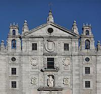 Main facade, Convento de Santa Teresa, (Convent of St Teresa), 1629-36,  Avila, Spain, built in Baroque style on the site of St Teresa's birthplace by architect and monk Alonso de san Jose (1600-54). Santa Teresa (1515-82), was a Carmelite nun, canonized 1622. Photograph by Manuel Cohen.