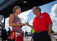 Oct 15, 2016; Ennis, TX, USA; NHRA top fuel driver Leah Pritchett (left) with team owner Don Schumacher during qualifying for the Fall Nationals at Texas Motorplex. Mandatory Credit: Mark J. Rebilas-USA TODAY Sports