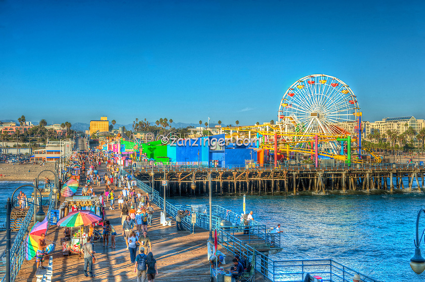 Santa Monica CA, Amusement Park, Roller Coaster, Over Water, Santa Monica Pier, Loews Hotel Pacific Park Amusements, Roller Coaster, Ferris Wheel, Over Water, mix of stores, restaurants,  Beautiful
