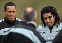 Hosea Gear and Ma'a Nonu listen to coach Graham Henry. All Blacks Training Session at Rugby League Park, Newtown, Wellington. Thursday 9 July 2009. Photo: Dave Lintott/lintottphoto.co.nz