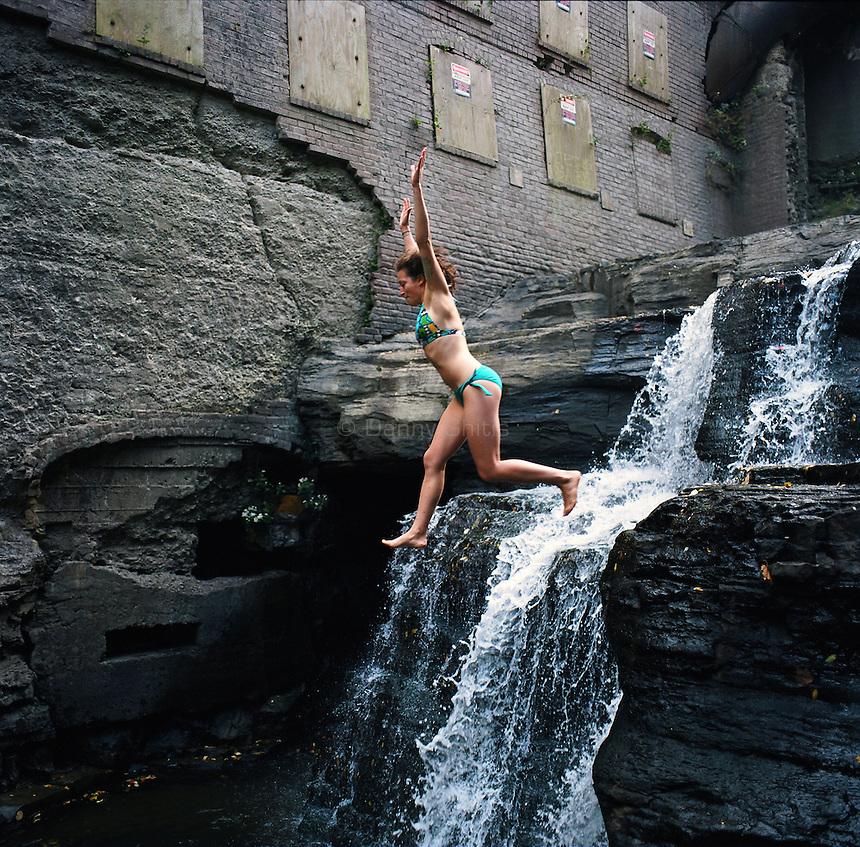 Sarah Hallacher at Ithaca's Wells Falls