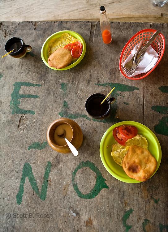 Basic breakfast of eggs, bread, and coffee, Isla Pelikano, San Blas Islands, Kuna Yala, Panama